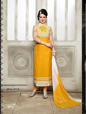 THANKAR NEW DESIGNER YELLOW STRAIGHT SUIT @ Rs1421.00