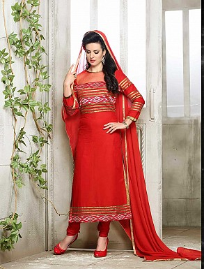 THANKAR NEW DESIGNER HOT RED STRAIGHT SUIT @ Rs1421.00