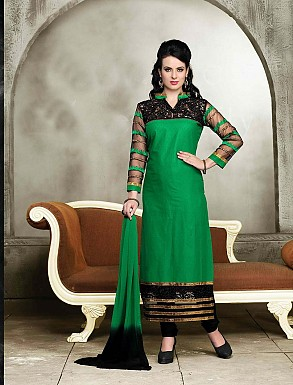 THANKAR NEW DESIGNER GREEN AND BLACK STRAIGHT SUIT @ Rs1421.00
