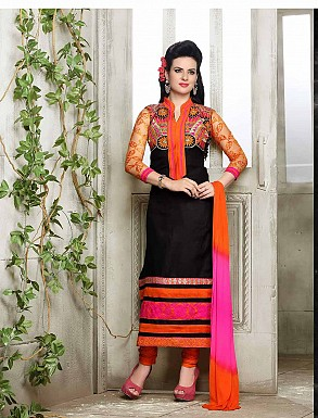 THANKAR NEW DESIGNER ORANGE AND BLACK STRAIGHT SUIT @ Rs1421.00