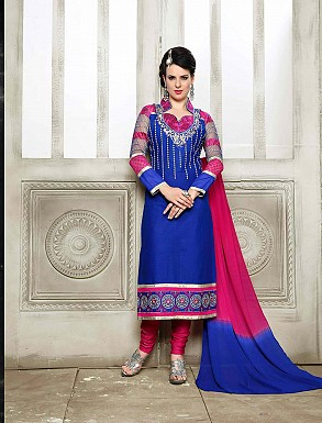 THANKAR NEW DESIGNER BLUE AND PINK STRAIGHT SUIT @ Rs1421.00