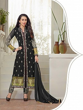 THANKAR NEW DESIGNER BLACK STRAIGHT PLAZO SUIT @ Rs2409.00