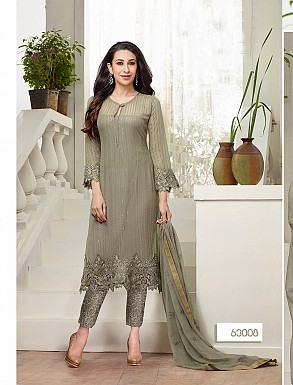 THANKAR NEW DESIGNER GREY STRAIGHT PLAZO SUIT @ Rs1606.00