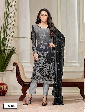 THANKAR NEW DESIGNER BLACK SHADED STRAIGHT PLAZO SUIT @ Rs2409.00