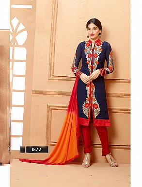 THANKAR NEW DESIGNER NEVY BLUE AND RED STRAIGHT SUIT @ Rs1853.00