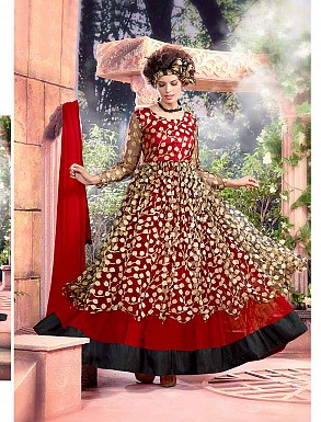 THANKAR ATTRACTIVE NET BRASSO DESIGNER RED & BLACK ANARKALI SUITS @ Rs1112.00