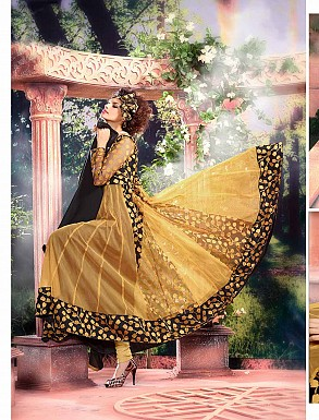 THANKAR ATTRACTIVE NET BRASSO DESIGNER YELLOW & BLACK ANARKALI SUITS @ Rs1112.00