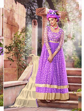 THANKAR ATTRACTIVE NET BRASSO DESIGNER PURPLE & CREAM ANARKALI SUITS @ Rs1112.00