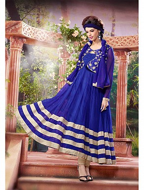 THANKAR ATTRACTIVE NET BRASSO DESIGNER BLUE & CREAM ANARKALI SUITS @ Rs1112.00