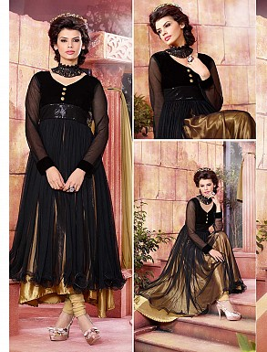 THANKAR ATTRACTIVE NET BRASSO DESIGNER GOLDEN & BLACK ANARKALI SUITS @ Rs1112.00