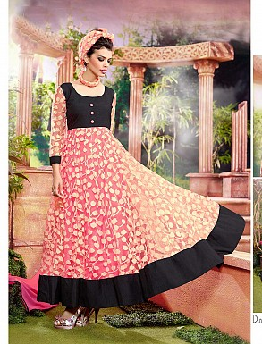 THANKAR ATTRACTIVE NET BRASSO DESIGNER PEACH & BLACK ANARKALI SUITS @ Rs1112.00