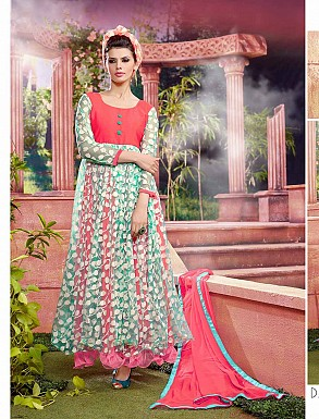 THANKAR ATTRACTIVE NET BRASSO DESIGNER PINK & GREEN ANARKALI SUITS @ Rs1112.00