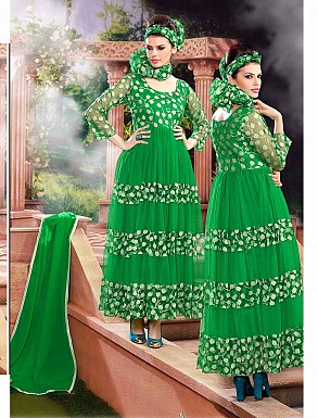THANKAR ATTRACTIVE NET BRASSO DESIGNER GREEN ANARKALI SUITS @ Rs1112.00