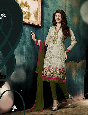 THANKAR NEW DESIGNER WHITE AND GREEN STRAIGHT SUIT @ Rs1421.00