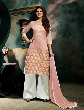 THANKAR NEW DESIGNER PINK AND WHITE STRAIGHT SUIT @ Rs1421.00