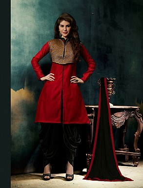 THANKAR NEW DESIGNER RED AND BLACK STRAIGHT SUIT @ Rs926.00