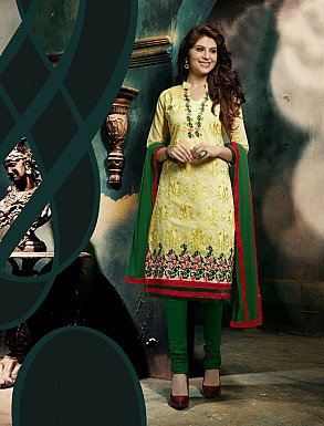 THANKAR NEW DESIGNER YELLOW AND GREEN STRAIGHT SUIT @ Rs1421.00