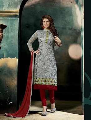THANKAR NEW DESIGNER GREY AND MAROON STRAIGHT SUIT @ Rs1421.00