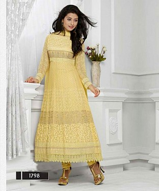 THANKAR LATEST DESIGNER CREAM LONG SLEEVE ANARKALI SUIT @ Rs988.00