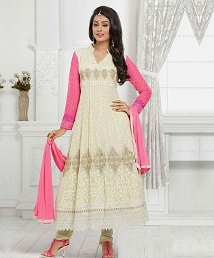 THANKAR LATEST DESIGNER OFF WHITE & PINK LONG SLEEVE ANARKALI SUIT @ Rs988.00