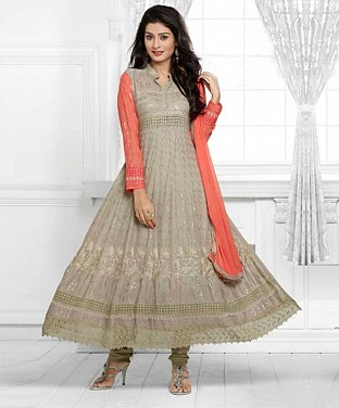 THANKAR LATEST DESIGNER GREY & PEACH LONG SLEEVE ANARKALI SUIT @ Rs988.00
