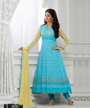 THANKAR LATEST DESIGNER SKY BLUE & CREAM LONG SLEEVE ANARKALI SUIT @ Rs988.00