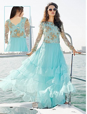 THANKAR LATEST DESIGNER SKY BLUE LONG SLEEVE ANARKALI SUIT @ Rs1791.00
