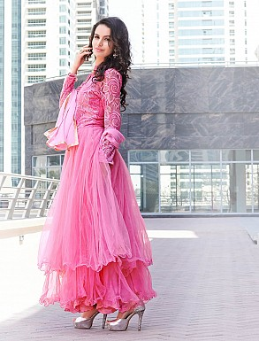THANKAR LATEST DESIGNER PINK LONG SLEEVE ANARKALI SUIT @ Rs1544.00