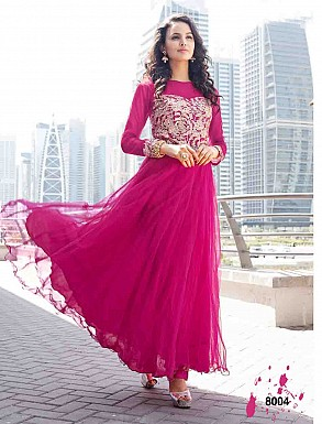 THANKAR LATEST DESIGNER DARK PINK LONG SLEEVE ANARKALI SUIT @ Rs2162.00