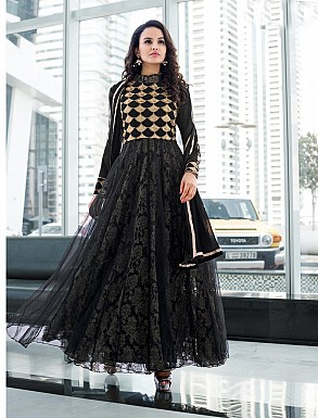 THANKAR LATEST DESIGNER BLACK LONG SLEEVE ANARKALI SUIT @ Rs2162.00