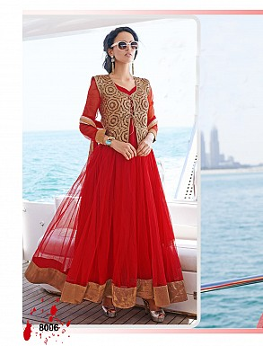 THANKAR LATEST DESIGNER RED LONG SLEEVE ANARKALI SUIT @ Rs2162.00