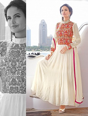 THANKAR LATEST DESIGNER OFF WHITE LONG SLEEVE ANARKALI SUIT @ Rs1544.00
