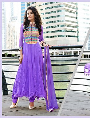 THANKAR LATEST DESIGNER PURPLE LONG SLEEVE ANARKALI SUIT @ Rs2162.00