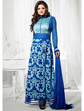 THANKAR LATEST DESIGNER BLUE LONG SLEEVE STRAIGHT SUIT @ Rs1050.00