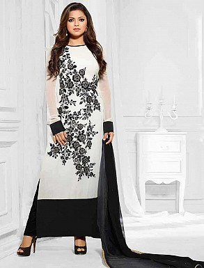 THANKAR LATEST DESIGNER BLACK AND WHITE LONG SLEEVE STRAIGHT SUIT @ Rs1050.00