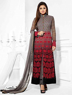 THANKAR LATEST DESIGNER GREY AND RED LONG SLEEVE STRAIGHT SUIT @ Rs1050.00