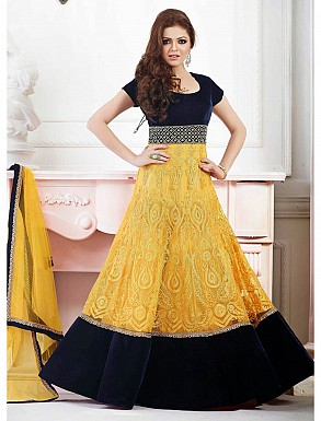 THANKAR LATEST DESIGNER YELLOW AND NEAVY BLUE ANARKALI SUIT @ Rs2780.00