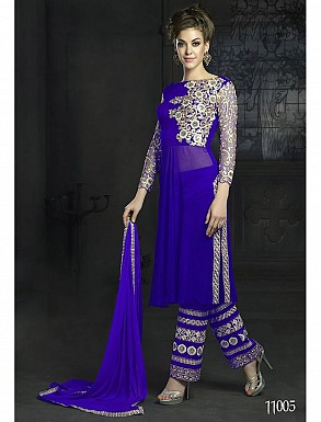 THANKAR LATEST DESIGNER BLUE LONG SLEEVE STRAIGHT SUIT @ Rs1977.00