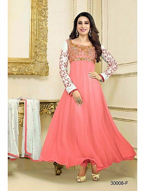 THANKAR LATEST DESIGNER PINK AND WHITE LONG SLEEVE ANARKALI SUIT @ Rs1421.00