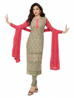 THANKAR NEW DESIGNER BEIGE AND PEACH STRAIGHT SUIT @ Rs1050.00