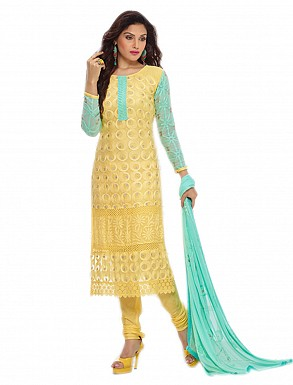 THANKAR NEW DESIGNER YELLOW & SKY STRAIGHT SUIT @ Rs1050.00