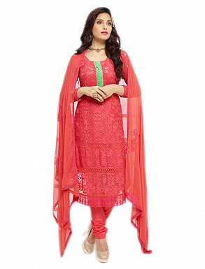 THANKAR NEW DESIGNER RED STRAIGHT SUIT @ Rs1112.00