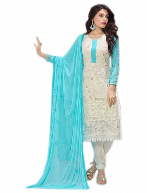 THANKAR NEW DESIGNER WHITE & SKY STRAIGHT SUIT @ Rs1112.00