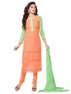 THANKAR NEW DESIGNER PEACH & LIGHT GREEN STRAIGHT SUIT @ Rs1112.00