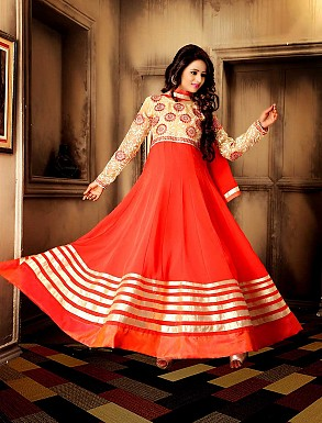 THANKAR NEW DESIGNER CREAM & ORANGE ANARKALI SUIT @ Rs1730.00