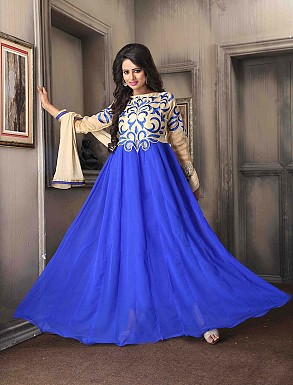 THANKAR NEW DESIGNER CREAM & BLUE ANARKALI SUIT @ Rs1730.00