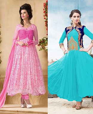 THANKAR COMBO ONE PINK ANARKALI SUIT AND SKY DESIGNER ANARKALI SUIT @ Rs1977.00
