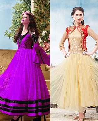 THANKAR COMBO ONE PURPLE ANARKALI SUIT AND CREAM DESIGNER ANARKALI SUIT @ Rs1977.00