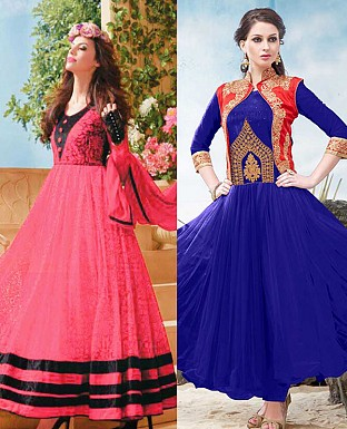 THANKAR COMBO ONE PINK ANARKALI SUIT AND BLUE DESIGNER ANARKALI SUIT @ Rs1977.00