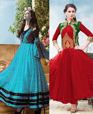 THANKAR COMBO ONE SKY ANARKALI SUIT AND RED DESIGNER ANARKALI SUIT @ Rs1977.00